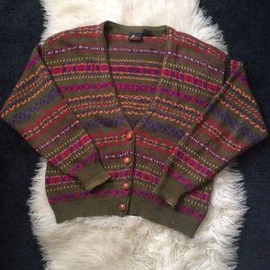 Vintage sweater cardigan fair isle pattern szM